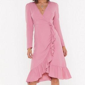 Faux wrap dress by Nasty Gal